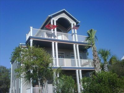 Front view of 'Seascape' showing balconies where you can view the gulf and lake