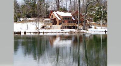 Photo for Beautiful cabin with 2 acre lake, 2 streams, apple orchard and large open yard