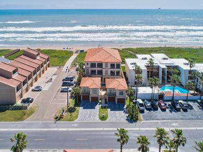 Aerial of our beachfront property! The townhome is the one on the left side (north side) Ocean Front!!!