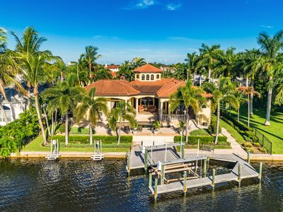 Photo for Stunning Waterfront 3BR Estate w/ Heated Pool, In-Ground Spa & Private Dock