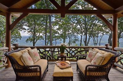 A veranda pavilion complete with TV, fireplace, and breath-taking views.