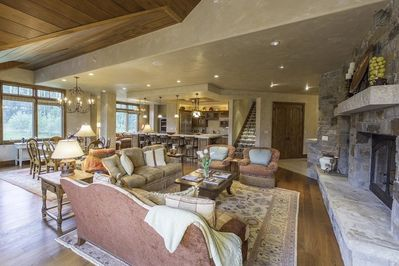 An expansive open floor plan lets you keep watch over all of the ongoing activities at once.