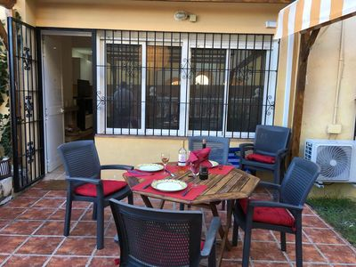 Photo for Apartment Las Perlas on the Beach with Patio, Garden, Wi-Fi & Air Conditioning