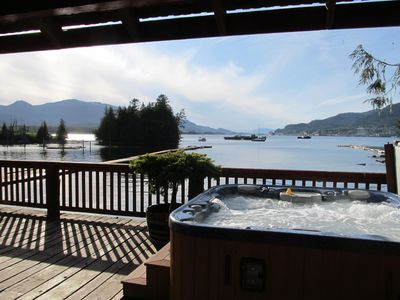 Hot tub at the water's edge. Relax and rejuvenate.