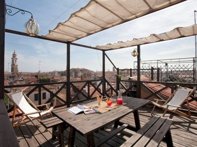 Photo for Ca d'Oro: a modern, large and bright studio with a Venetian rooftop terrace