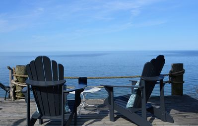 Stunning Lake Michigan views in our light, airy beachfront cottage.  Sleeps 10.