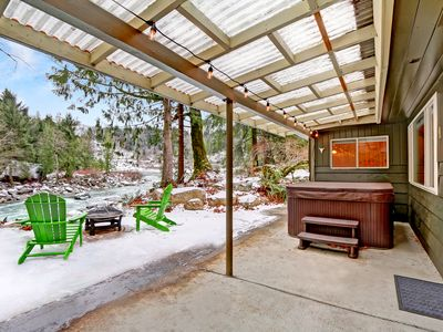 Photo for Riverfront Cabin w Hot Tub near Sunset Falls! WiFi, Cable, Movies & Board Games, Fire Pit, Perfect Couples Escape!