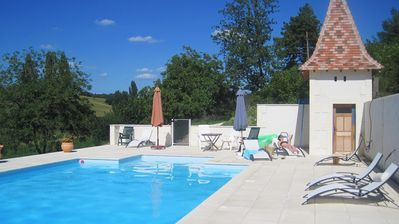 12 x 6 m heated pool, with large terrace and lovely views