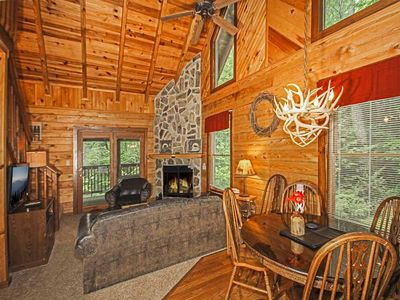 Photo for Doe's Den, 2 Bedroom, Sleeps 6, Hot Tub, Grill, Fireplace, Jetted Tub, WiFi