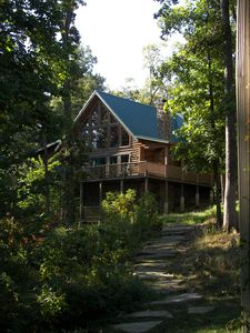 View of cabin on walkway from the dock