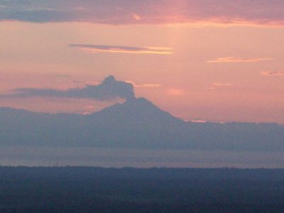 Mt. Redoubt and 4 other volcanoes are visible from the living room.