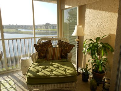 Screened in lanai offering beautiful golf course and water views from the 2nd fl