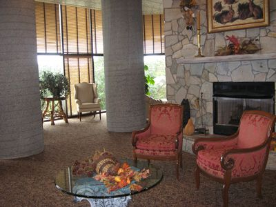 A welcoming lobby with a roaring fire...when it's necessary!