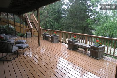 Large deck with deck furniture