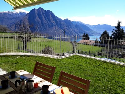 Photo for Casa Alessandra beautiful apartment with pool, stunning lake and mountains view