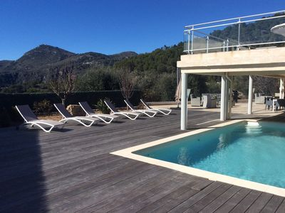 Photo for Ground floor of Villa - Heated Swimming pool - Petanque - Panoramic view - AIR CON - WIFI -...