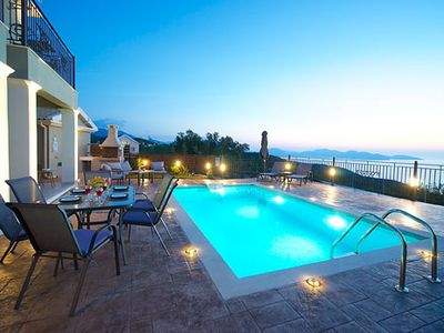 Photo for local village location with tavernas and shops to hand but not intrusive, fab sunsets from the swimming pool and terrace, top hotels standard bedrooms and traditional exteriors - 20 minute drive to Fiscardo village and Myrtos beach. Bliss!