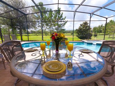 Enjoy breakfast at our private pool. True South-Facing with No Rear Neighbors!