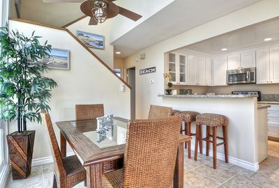 Newly remodeled kitchen.  Seating for 3 at the bar,  4 at the dining room table