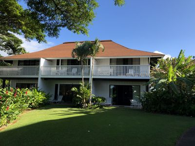 Kiahuna 167 is a ground floor in unit with a partial ocean view- on the right.
