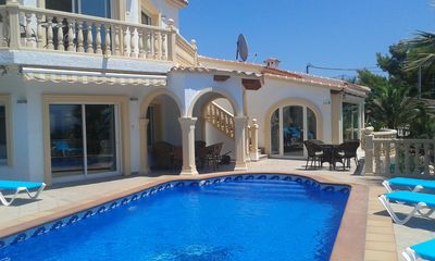 Photo for Luxury 3/4 bedroom air conditioned villa with private pool, parking and sea view