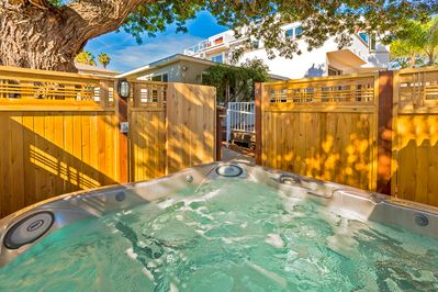 Relax in the shared hot tub