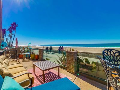 Photo for � Oceanfront Ground Floor ☀� Clean Oceanfront Condo w/ Private Patio on the Boardwalk!