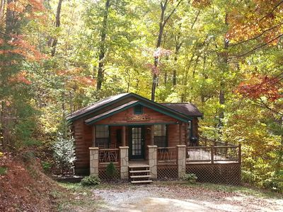 Photo for Log Cabin on 6 Private Acres min. to Dollywood! Sleeps 5! 2 BD, 1 BA, HT, FP, WD