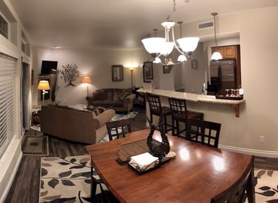 Dining room with seating for six people