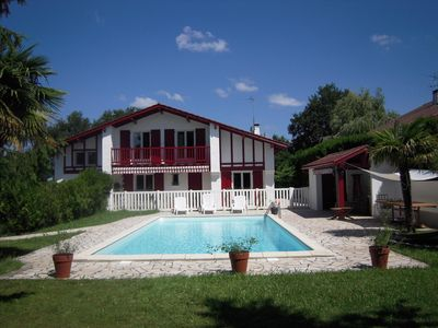 Photo for Basque house 8 people, 5 bedrooms with swimming pool between sea, mountains and golf courses