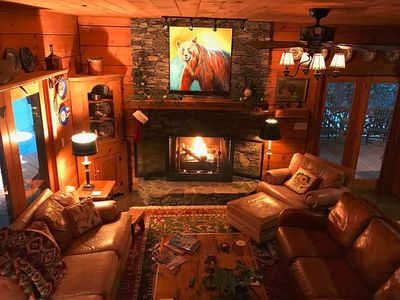 Photo for Beautiful Log Cabin with river access to The Watagua. Newly  added Fire Pit