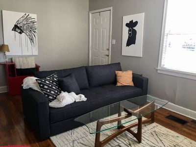 Living room-new couch makes a full bed and has feather topper for xtra comfort