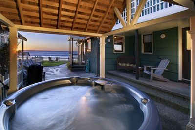 Covered Hot Tub with oceanfront view!