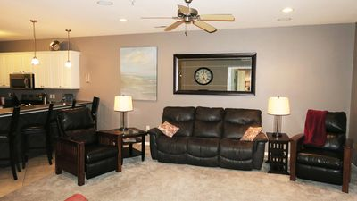 La-Z-Boy reclining couch and chairs, open floor plan