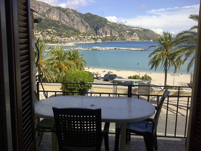 Photo for Menton Garavan Apartment Sea Facing & Beach Sablettes Panoramic View Garage Clim