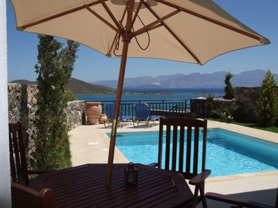 Photo for Elounda, private pool, near beach and shops, stunning views facing the sea
