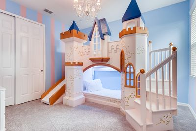 Princess Bedroom with Castle bunk-bed and princess toys!