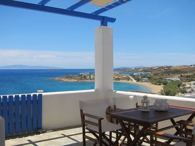 Photo for Poseidon home with panoramic sea view, 50m from Logaras sandy beach