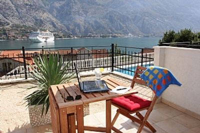 Photo for Fabulous Ground Level Apartment with Panoramic Views over the majestic Kotor Bay