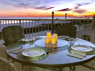 Savor the beautiful sunsets on our private balcony.
