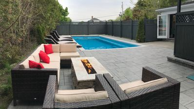 Custom Gas fire pit and heated pool
