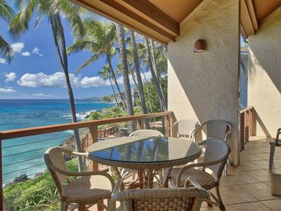 Photo for Beautiful Condo with White Water Ocean, Sunset, Spouting Horn and Niihau Views