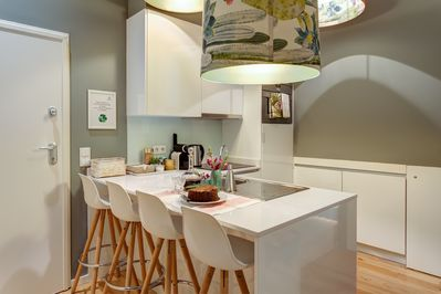 Kitchen with sitting area for meals