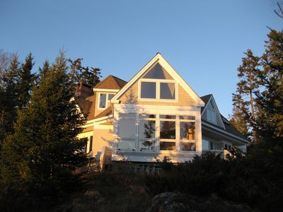 Exterior view of Living Roon in late afternoon sun