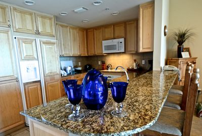 Cobalt blue accents throughout unit