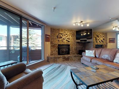Photo for Convenient condo w/lake view, shared hot tub & sauna - walk to lake, near slopes