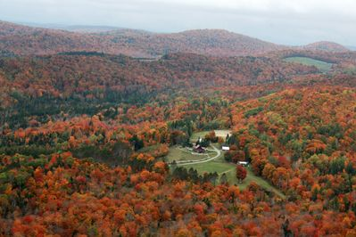 The property from above in autumn