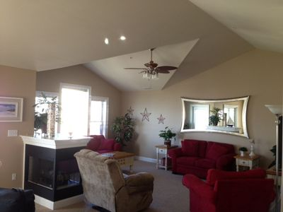 "Living Room, vaulted ceilings & 55"" flat screen TV"