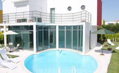 Photo for Holiday villa with for 8 people with private pool, villa directly on the golf course