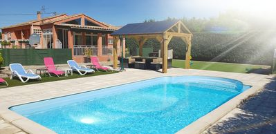 Photo for Modern  villa with private Heated pool Nr Limoux and Carcassonne sleeps upto 6